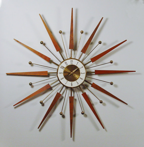 Mid Century Modern Starburst Wall Clock by Elgin. Atomic Design, 1960s ...
