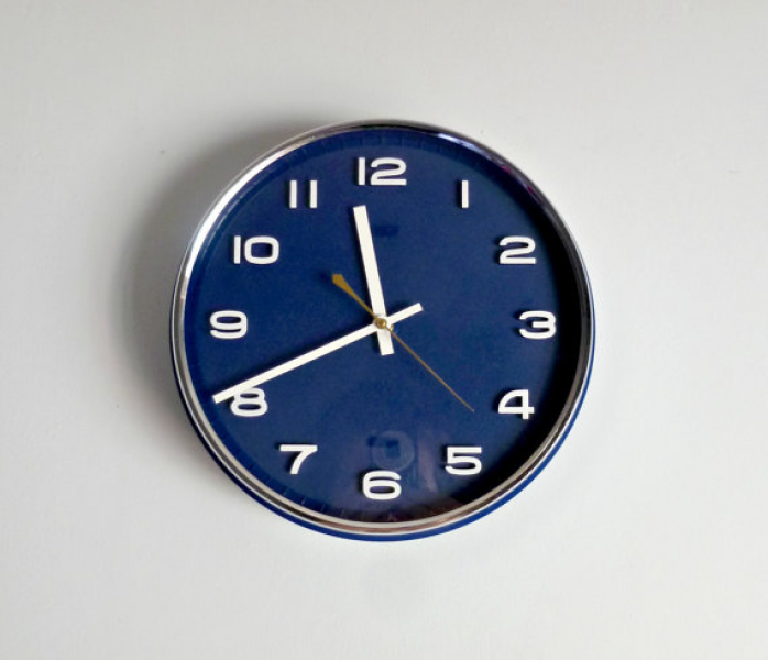 Mid Century Modern Circle Wall Clock - Monaco Blue, White, Chrome ...