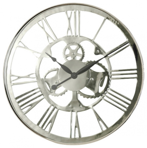 Modern nickel wall clocks modern wall clocks - Large brushed nickel wall clock ...