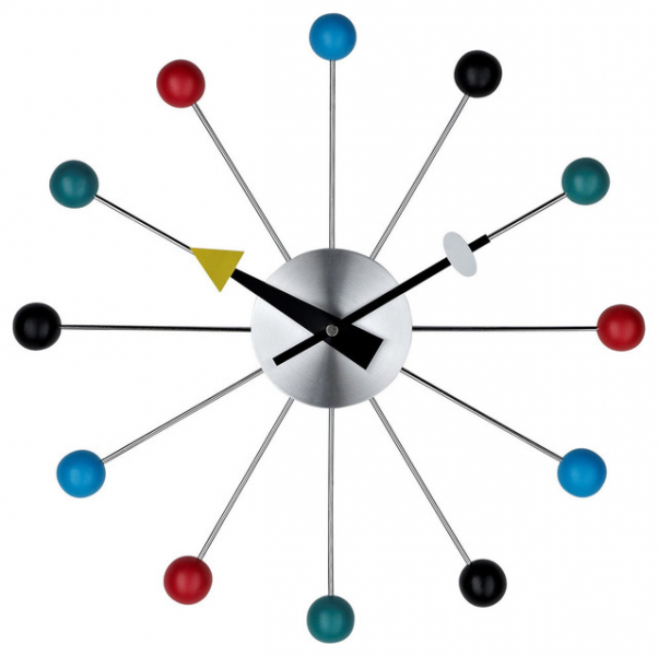 774 Ball Wall Clock in Silver Black Yellow Blue Red Turquoise - Modern ...