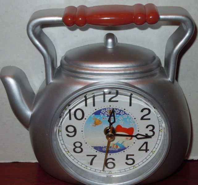 ... Teapot Wall Clock Battery Powered Gray Tea Pot Plastic - Alarm Clocks