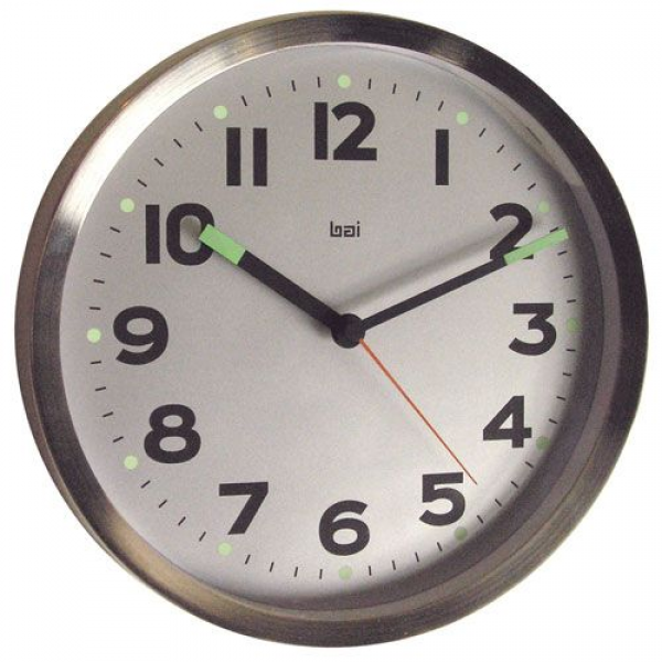 Silver 10 Inch Brushed Stainless Steel Wall Clock Bai Design Wall Mou ...