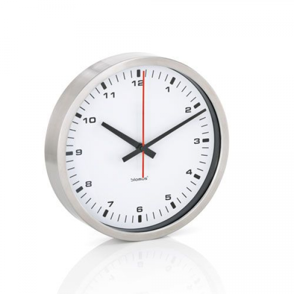 Era White And Brushed Stainless Steel Wall Clock Small Blomus Wall Mo ...