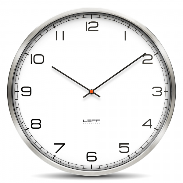 ... Wall Clock One 25 Stainless Steel White Arabic by LEFF Amsterdam