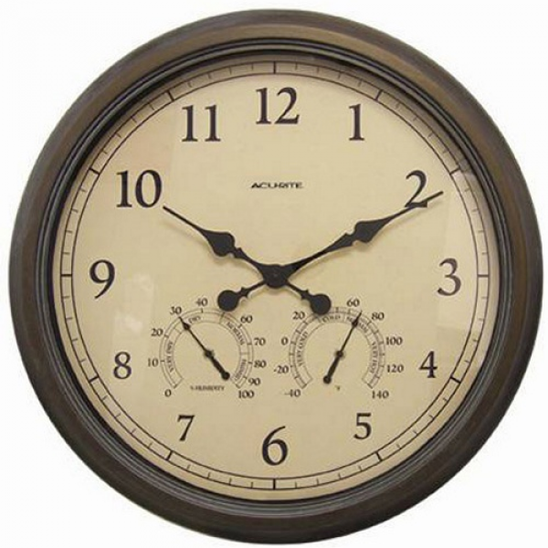Acu-Rite Indoor/Outdoor Copper Patina 24 in. Wall Clock - Wall Clocks ...