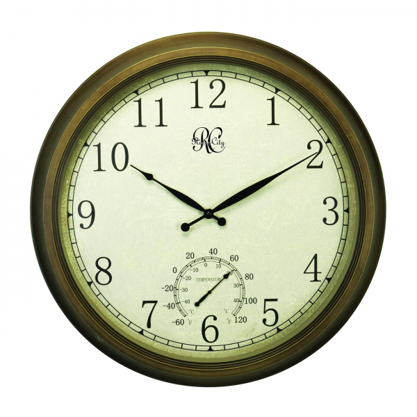 River City Clocks 1011-24 Indoor/Outdoor Wall Clock with Thermometer ...