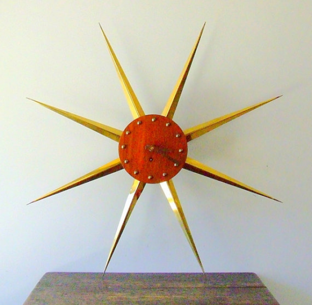 Mid-Century Sunburst, Wind Up Wall Clock, In Walnut Casing, With ...