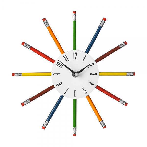Wall Clocks Multi Color Pencil Wall Clock Metal Plastic Wood Office ...