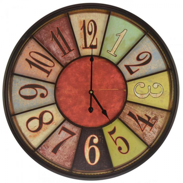 Large Hanging Metal Wall Clock - Round Multi-Color Vintage Style