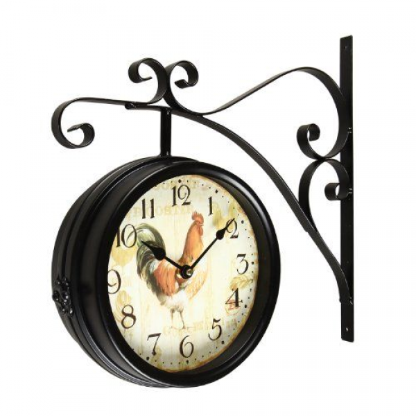 Adeco [CK0001] Antique Vintage Decorative Round Iron Double Wall Clock ...