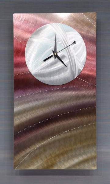 Handmade Modern Abstract Painted Neutral Metal Wall Clock by Jon Allen ...