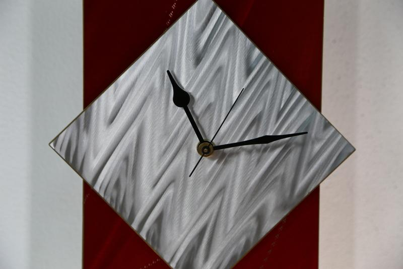 Handmade Modern Abstract Painted Red Metal Wall Clock by Jon Allen CLK ...