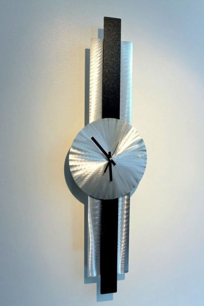 Metal Abstract Modern Black/Silver Wall Clock Art - Infinite Orbit ...