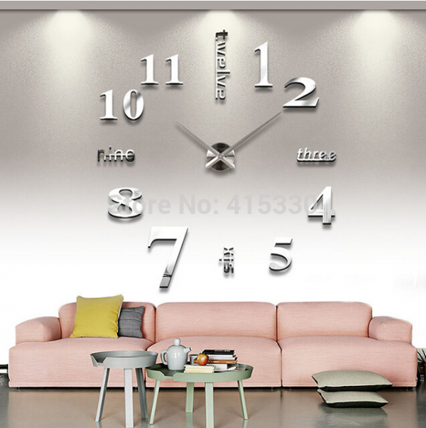DIY 3D Wall Clock Large Size Mirrors Surface Home Decoration Art Clock ...
