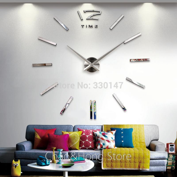 Wall Clock Home Decor 3D EVA Foam & Mirrors Acrylic Stickers Cool Big ...