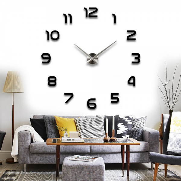 2015 Fashion DIY Large Wall Clock 3D Sticker Metal Big Watches Home ...