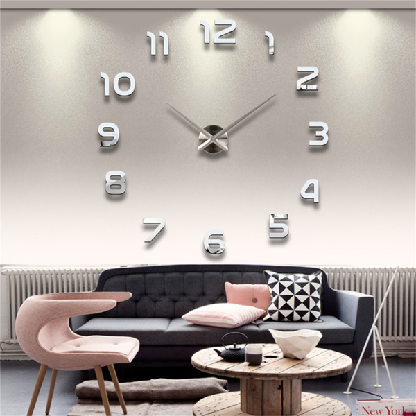 shipping fashion 3D big size wall clock mirror sticker DIY wall clocks ...