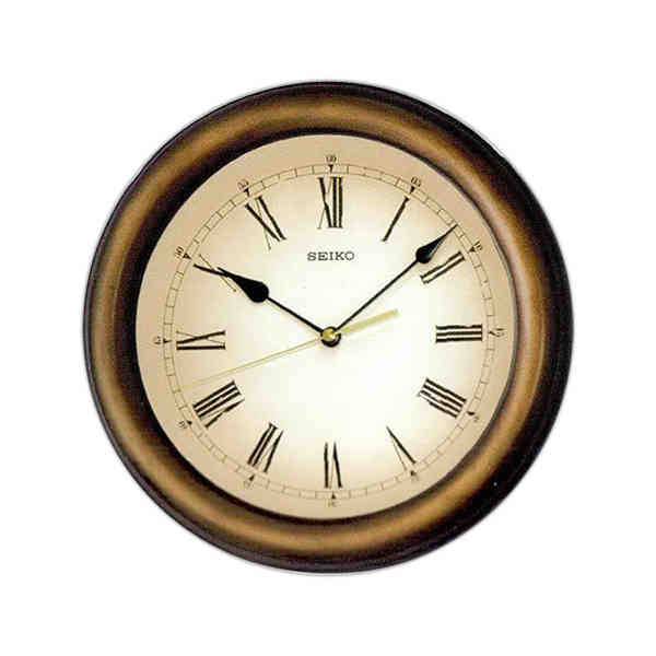 Round wall clock with quiet sweep second hand. Glass crystal. One AA ...