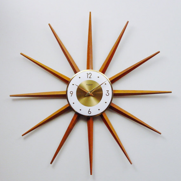 Mid Century Modern Starburst Clock, Atomic Wall Clock, Modernist ...