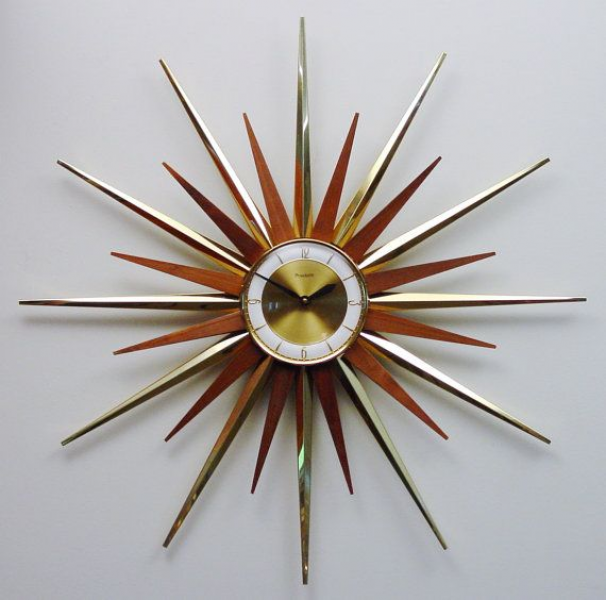 Mid Century Modern Starburst Wall Clock by Forestville, Atomic Firewo ...