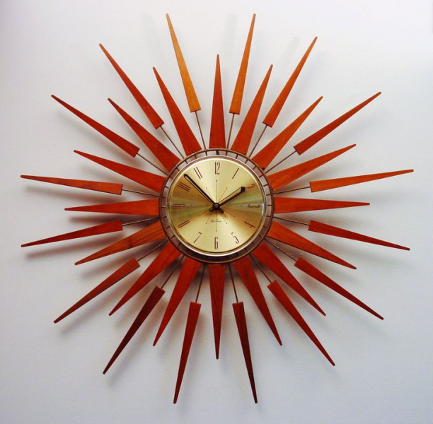 Mid-Century Modern Starburst Wall Clock by Seth Thomas, Starflower De ...