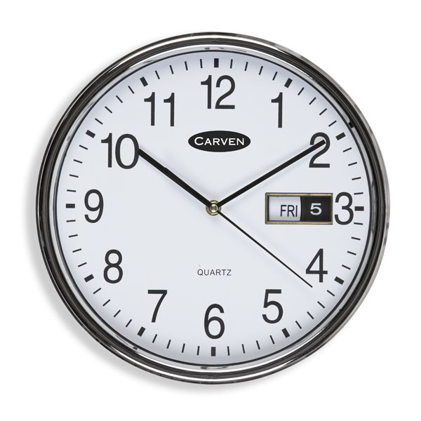 Carven Wall Clock 285mm Analogue Date/Time