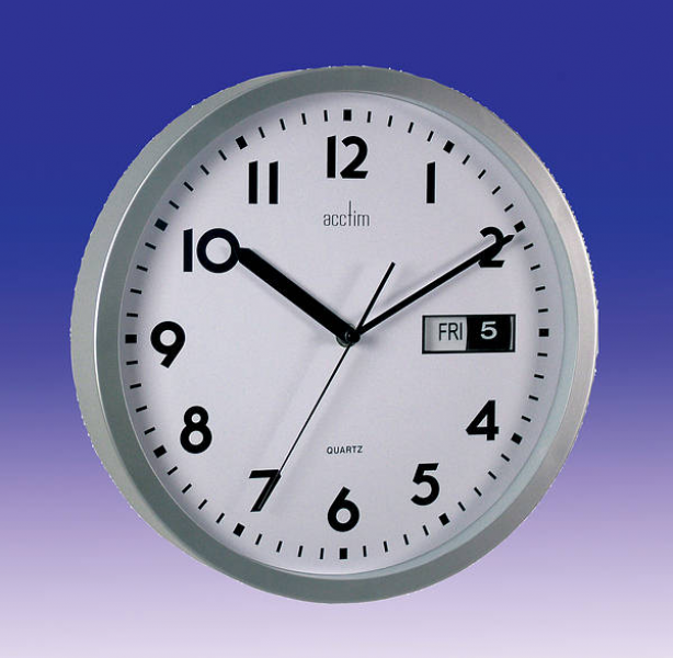 Date Time Wall Clock 30cm Day / Date Dial Silver - Discontinued