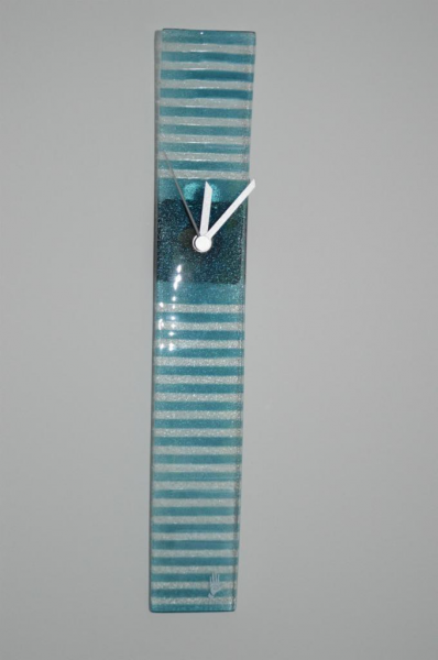 Rectangle Wave Nautical Glass Wall Clock Turquoise/White Stripe ...