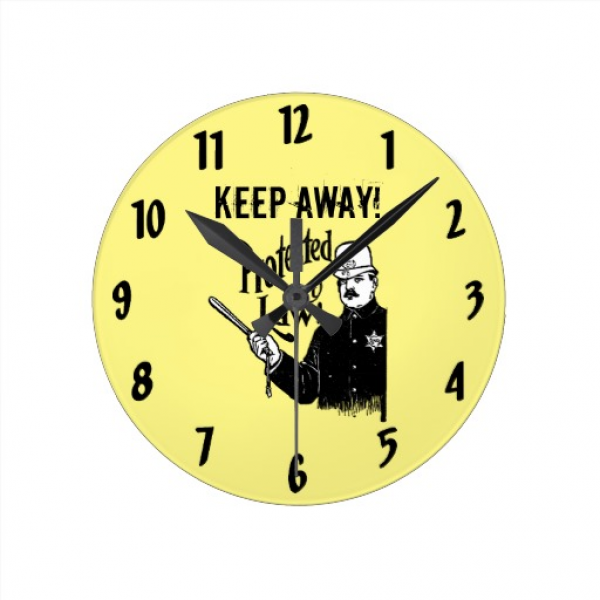 Protected By Law Police Round Wallclocks | Zazzle