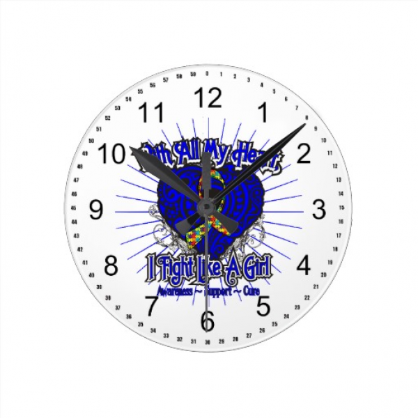 Autism Heart I Fight Like A Girl Round Wall Clocks