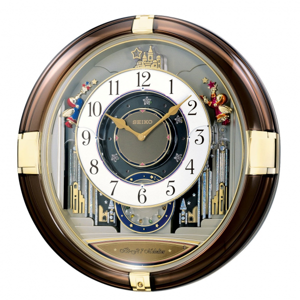 Seiko Melodies in Motion Musical Wall Clock QXM211GRH Opening Face, 2 ...