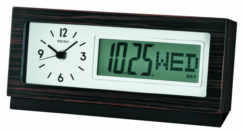 Seiko Wooden Desk Clock with Analogue Clock & Digital Calendar