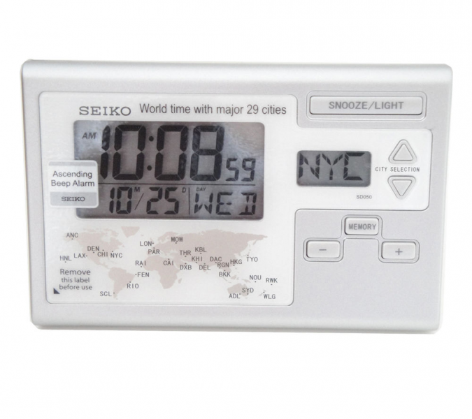 Seiko Digital World Time Clock Travel Alarm Desk Clock QHL050S | eBay