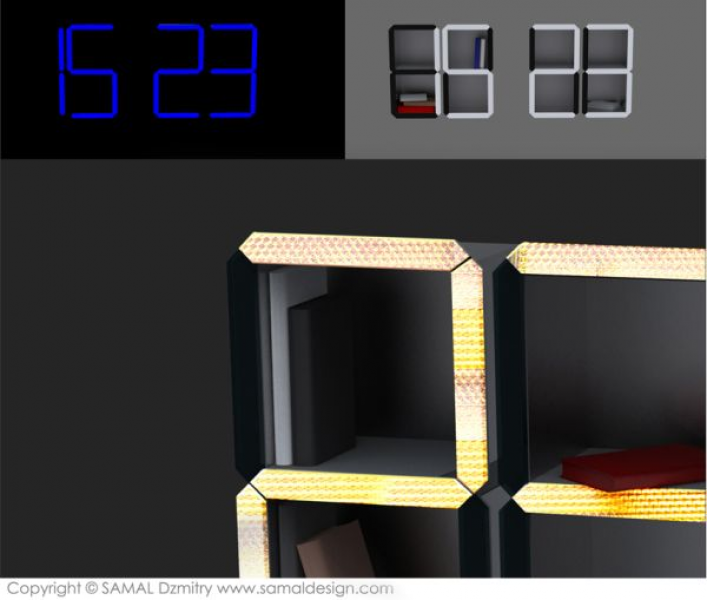 Digital Time Shelf by Dzmitry Samal is a wall clock that doubles as ...