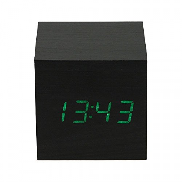 Muchbuy Cube Usb Wood Wooden Led Alarm Digital Desk Clock, Black Wood
