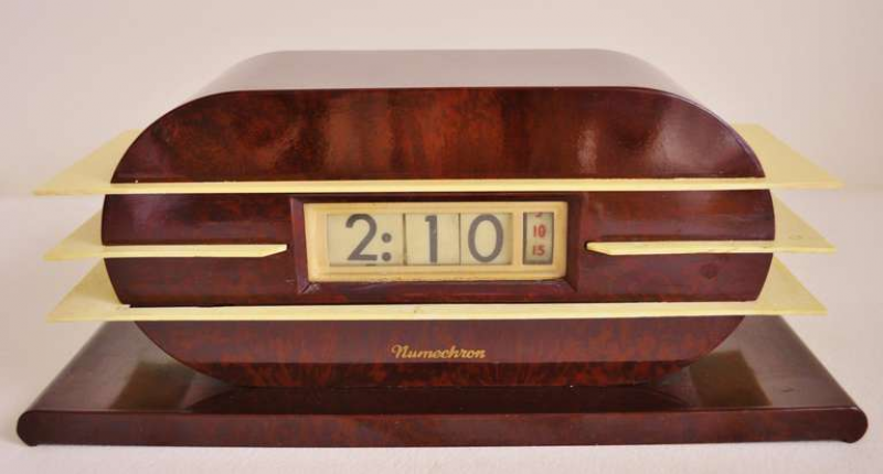 ... Imperial Bakelite and Tenite Digital Electrical Flip Clock at 1stdibs