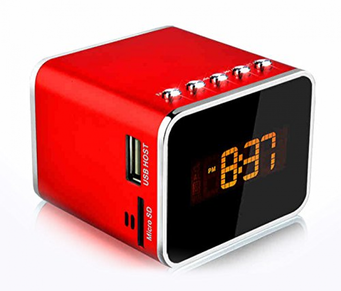 ... Card USB Disk FM Radio Alarm Clock With LED Screen (Red) - Q.Y. Mobile