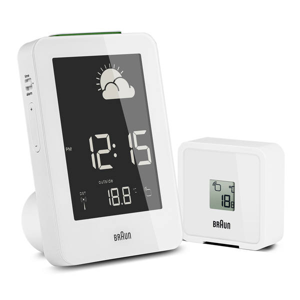 Braun Digital LCD Global Radio Controlled Weather Station White Alarm ...