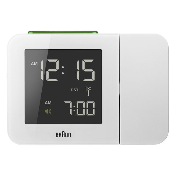 Braun Digital Lcd Global Radio Controlled Projection White Alarm Clock ...