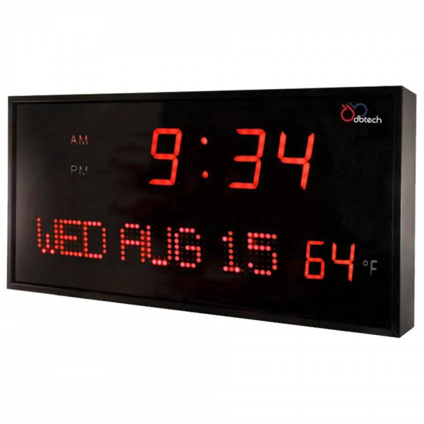 DBTech Big Digital Blue LED Calendar Clock with Day & Date (22 - Red ...