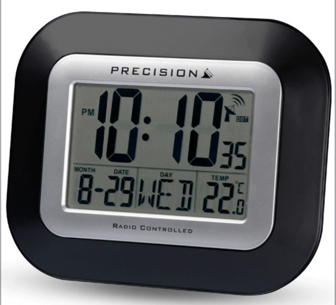 Precision Radio Controlled Large Screen LCD Wall Or Desk Clock Black ...