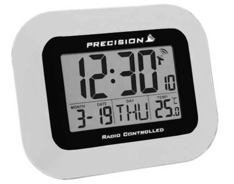 Radio Controlled Digital LCD Wall Desk Clock Date Temperature Alarm ...