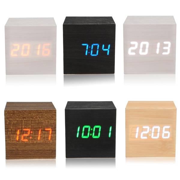 Wooden Wood Digital LED Alarm Clock Voice Control Calendar Temperature ...