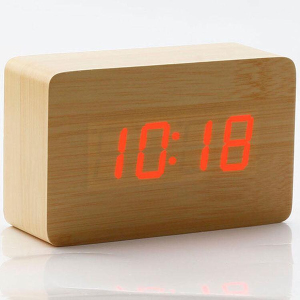 Rectangle Small Digital Wooden Clock (Bamboo)
