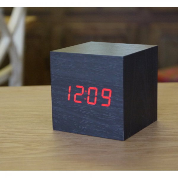 Gingko Digital Wood Cube Click Alarm Clock Black Red LED Eco Friendly