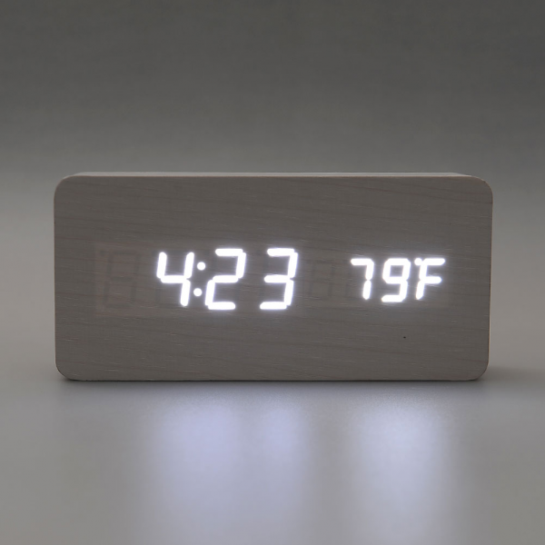 Rectangular Type White LED Wooden Alarm Clock Time Real Wood Framework ...