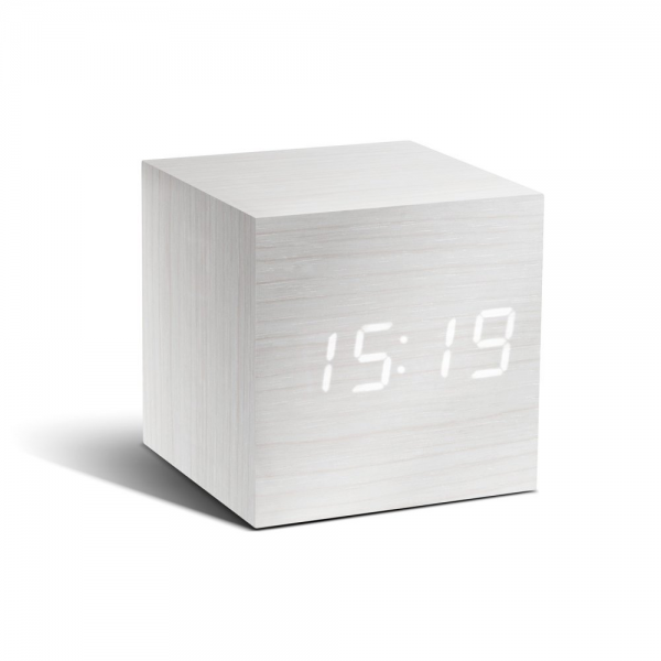 ... Digital White Wood Cube Click Alarm Clock White LED Eco Friendly