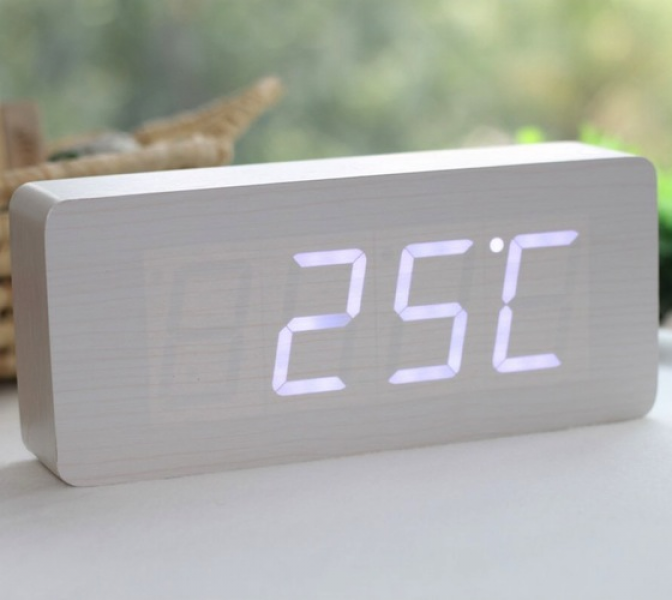 Luxurious Wood White LED Alarm Clock | 292190 | Home Design Ideas