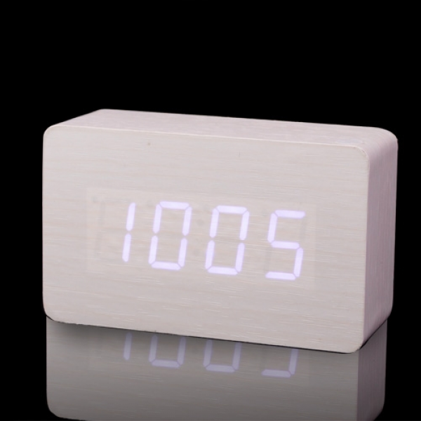 Fashion cuboid white LED Wood Wooden Digital Alarm Clock DC input/USB ...