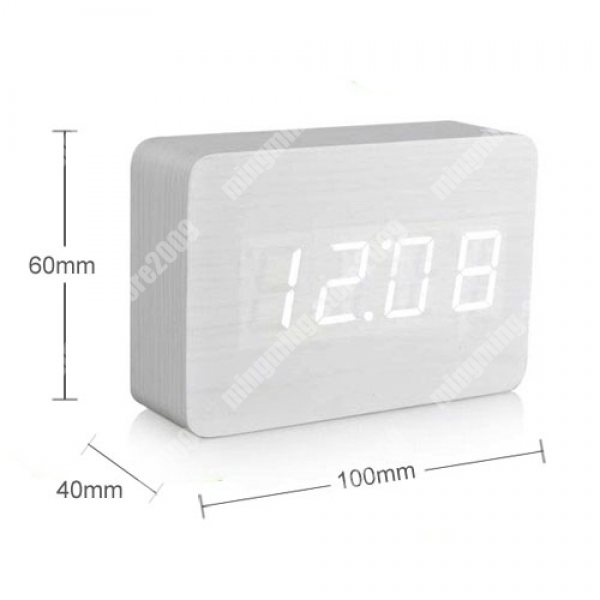 Modern White LED Wooden Wood Desktop USB AAA Digital Alarm Clock Night ...
